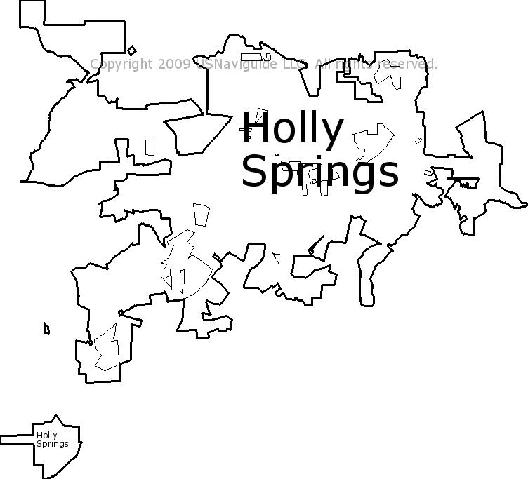 Fuquay Varina Zip Code Map.Holly Springs North Carolina Zip Code Boundary Map Nc