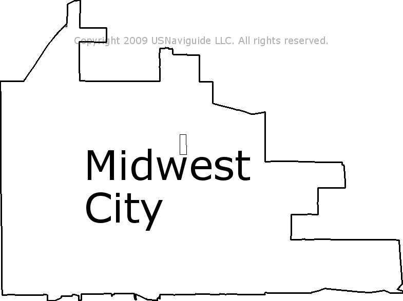Midwest City Zip Code Map.Midwest City Oklahoma Zip Code Boundary Map Ok