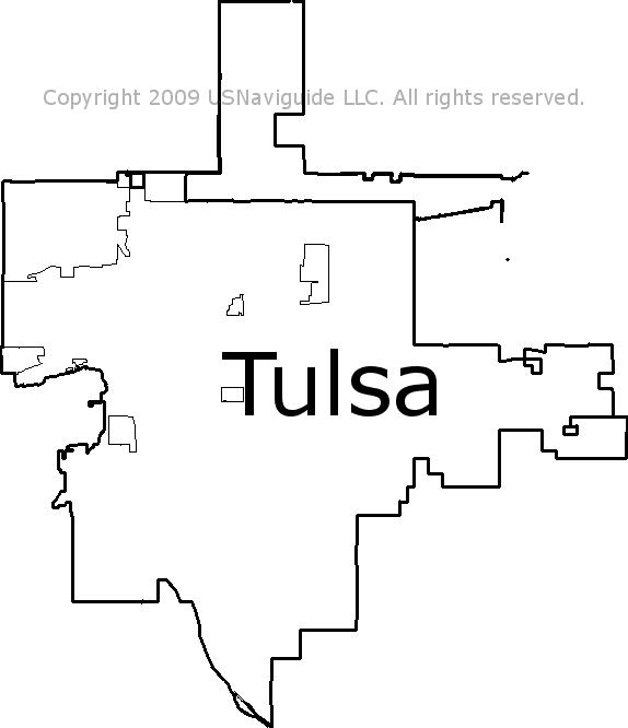 Tulsa Oklahoma Zip Code Boundary Map OK