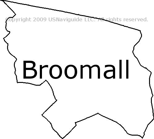 Broomall Pennsylvania Zip Code Boundary Map Pa