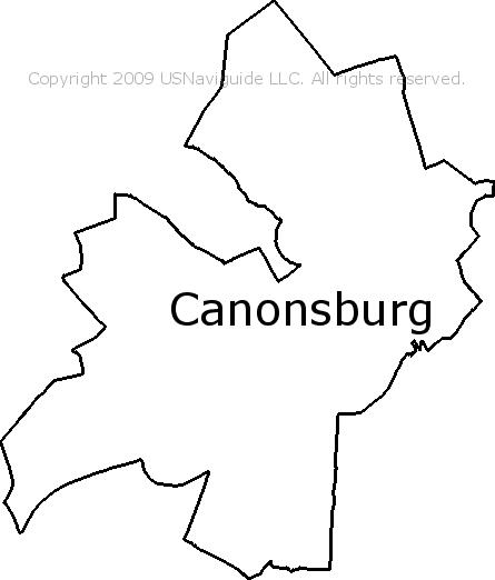Canonsburg Pennsylvania Zip Code Boundary Map Pa