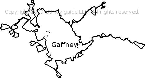 Gaffney South Carolina Zip Code Boundary Map Sc