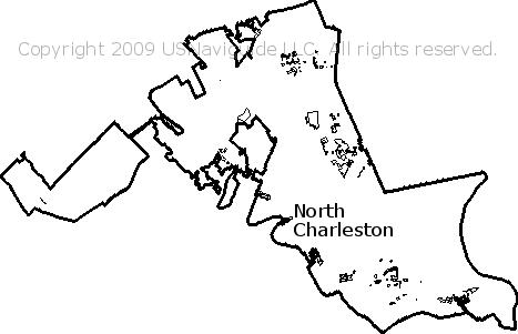 North Charleston South Carolina Zip Code Boundary Map Sc