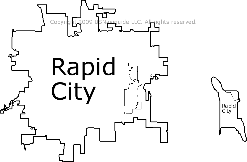 Rapid City South Dakota Zip Code Boundary Map Sd