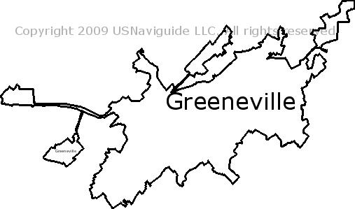 Greeneville, Tennessee Zip Code Boundary Map (TN)