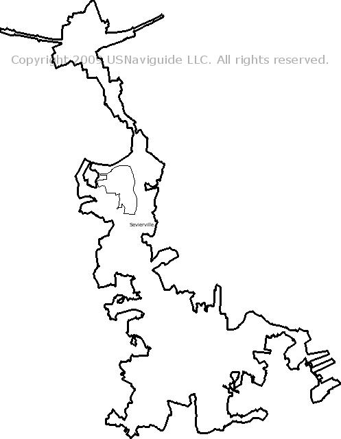 Sevierville Zip Code Map.Sevierville Tennessee Zip Code Boundary Map Tn