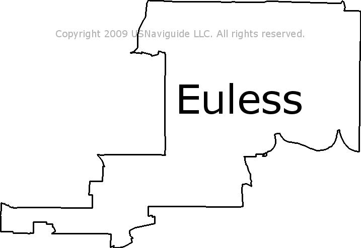 Euless Texas Zip Code Boundary Map Tx