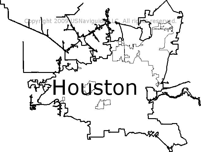 Houston, Texas Zip Code Boundary Map (TX)