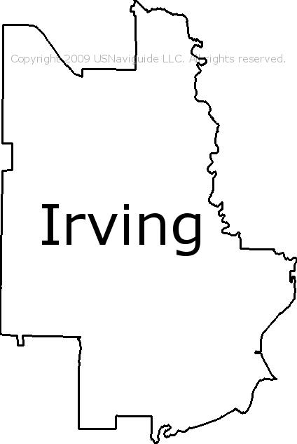 Irving Texas Zip Code Boundary Map Tx