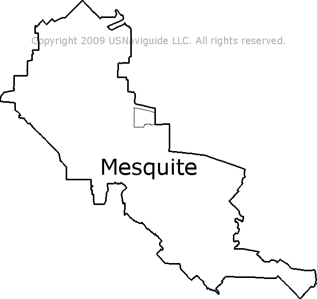Mesquite Texas Zip Code Boundary Map Tx