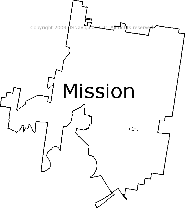 Mission Texas Zip Code Boundary Map Tx