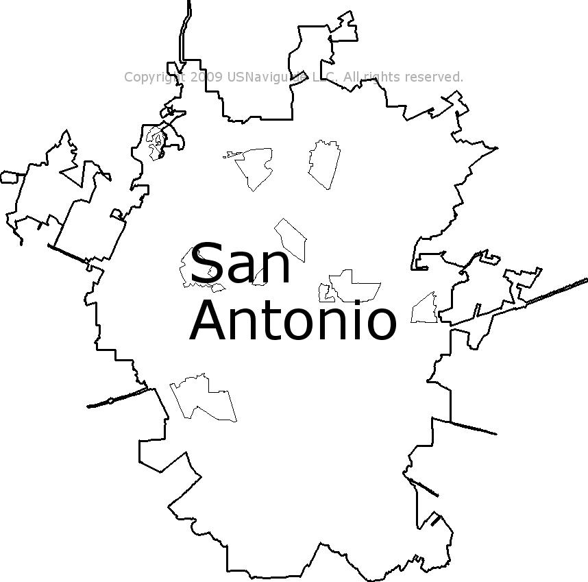 San Antonio Texas Zip Code Boundary Map Tx