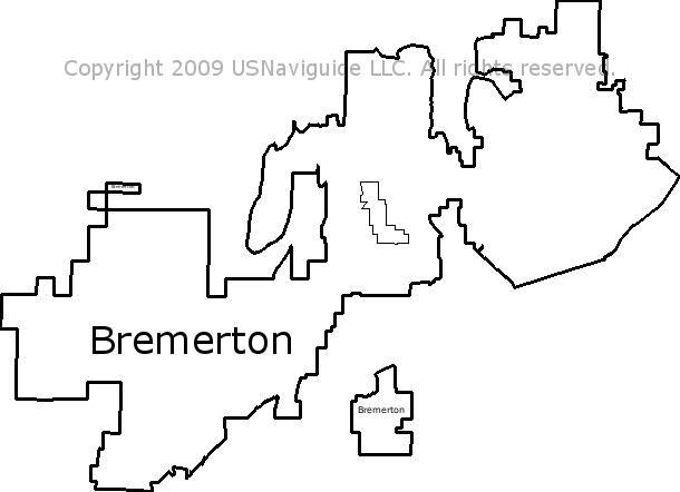 Bremerton Wa Zip Code Map.Bremerton Washington Zip Code Boundary Map Wa