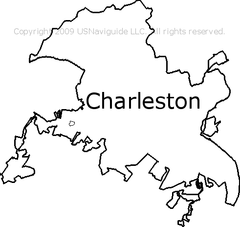Charleston West Virginia Zip Code Boundary Map Wv