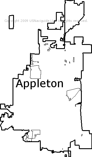 Green Bay Wi Zip Code Map.Appleton Wisconsin Zip Code Boundary Map Wi