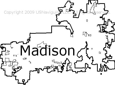 Madison Wisconsin Zip Code Boundary Map WI
