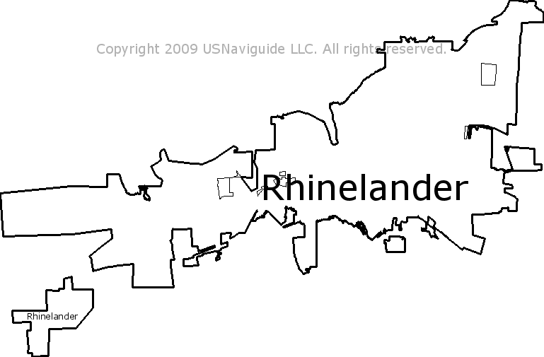Rhinelander Wisconsin Zip Code Boundary Map Wi
