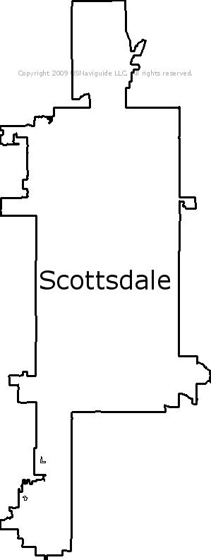 Scottsdale Arizona Zip Code Boundary Map Az