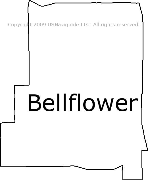 Bellflower Zip Code Map.Bellflower California Zip Code Boundary Map Ca