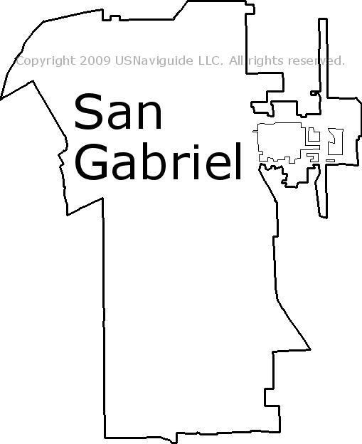 San Gabriel Zip Code Map.San Gabriel California Zip Code Boundary Map Ca