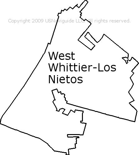 Pico Rivera Zip Code Map.West Whittier Los Nietos California Zip Code Boundary Map Ca