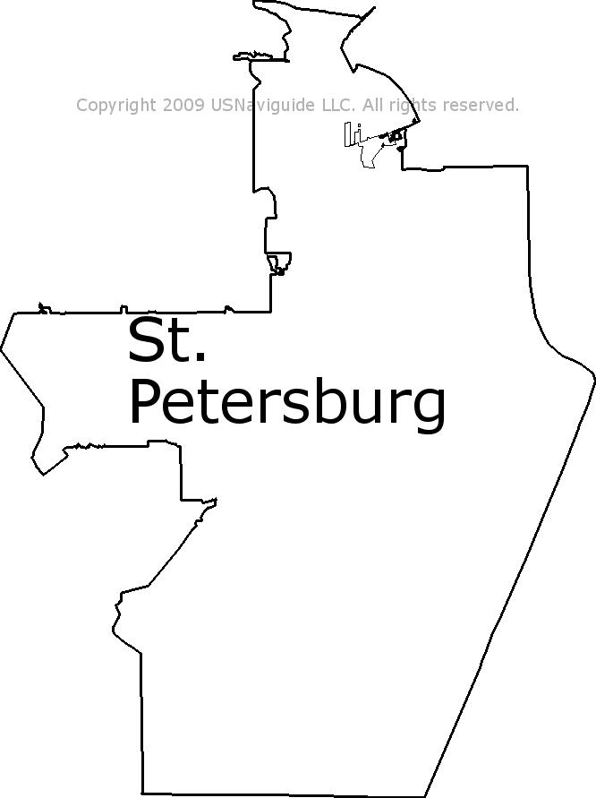 Saint Petersburg Fl Zip Code Map.St Petersburg Florida Zip Code Boundary Map Fl