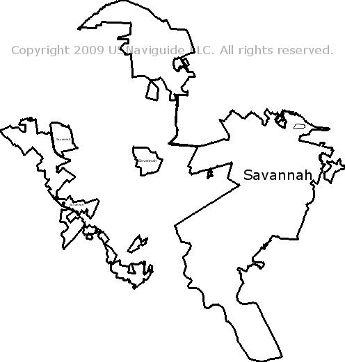 Savannah State Map.Savannah Georgia Zip Code Boundary Map Ga