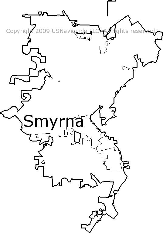 Smyrna Ga Zip Code Map.Smyrna Georgia Zip Code Boundary Map Ga