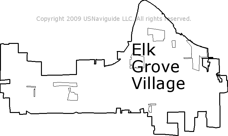 Elk Grove Village Illinois Zip Code Boundary Map Il