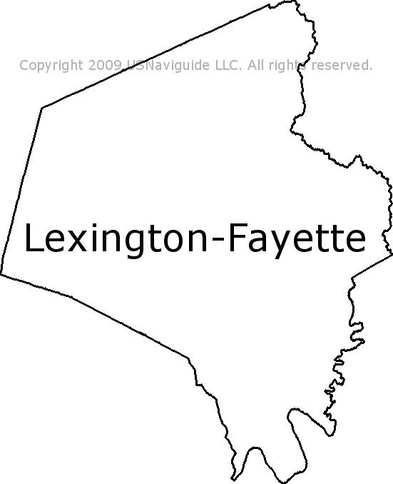 Lexington Fayette Kentucky Zip Code Boundary Map Ky