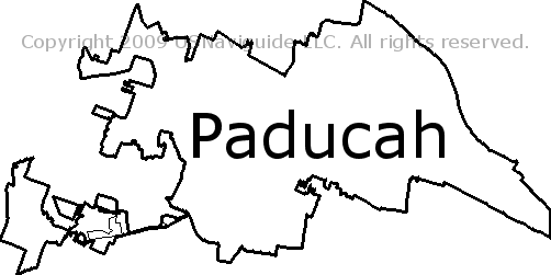 Paducah Kentucky Zip Code Boundary Map Ky