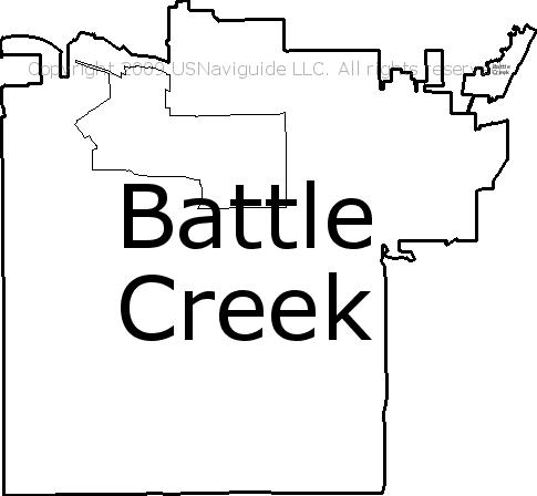 Battle Creek Mi Zip Code Map.Battle Creek Michigan Zip Code Boundary Map Mi