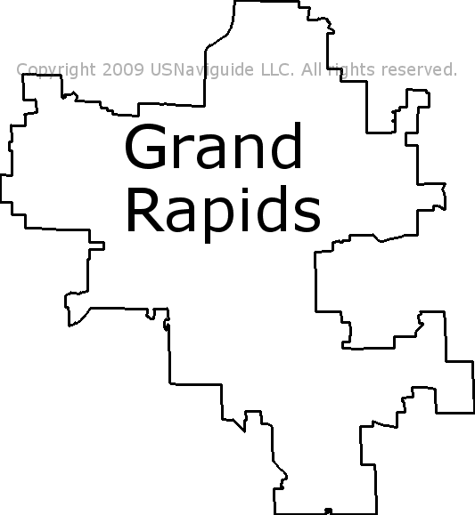 Grand Rapids Michigan Zip Code Boundary Map Mi