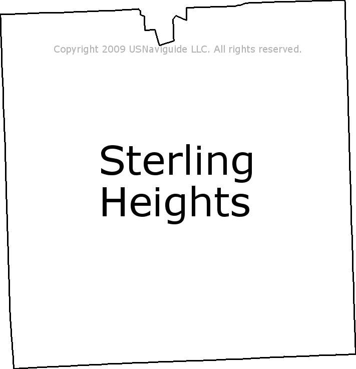 Sterling Heights Zip Code Map.Sterling Heights Michigan Zip Code Boundary Map Mi