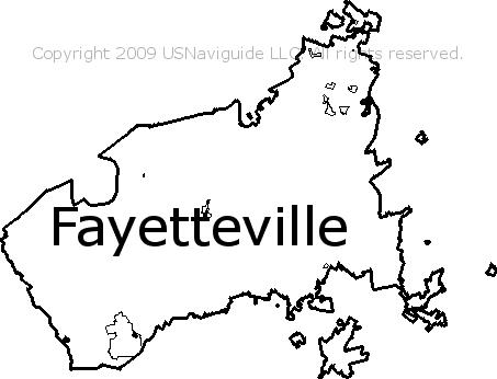 Fayetteville North Carolina Zip Code Boundary Map Nc