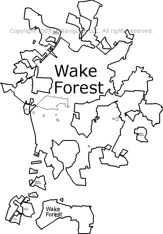 Wake Forest North Carolina Zip Code Boundary Map Nc