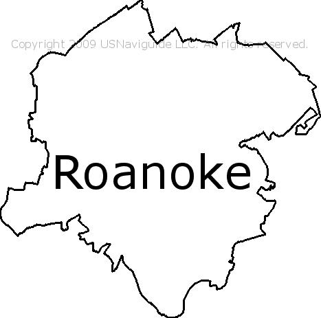 Roanoke Zip Code Map.Roanoke Virginia Zip Code Boundary Map Va
