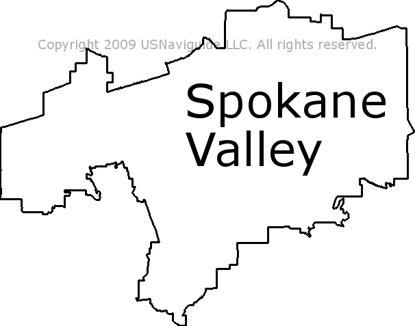 Spokane Valley Washington Zip Code Boundary Map WA