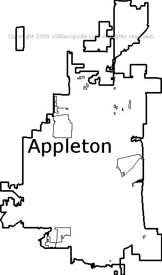 Green Bay Wi Zip Code Map.Appleton Wisconsin Zip Code Boundary Map Wi